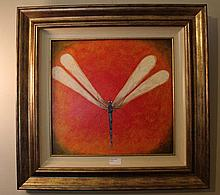 Kym Hart oil on board, Dragonfly, signed 61cm x 63