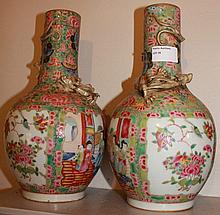 Pair Of Famille Rose Chinese Porcelain Vases With