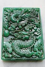 Chinese Carved Jade Plark Decorated With Phoenix A