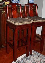 Four Chinese Rosewood Bar Stools Height 108cm