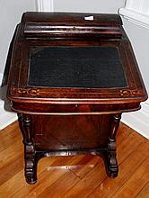 Victorian Burr Walnut Inlayed Davenport Desk 83cm