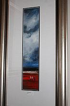 Colin Parker oil on board, Red Distance, signed 82