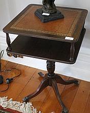Regency Style Cedar Side Table With Leather Top In