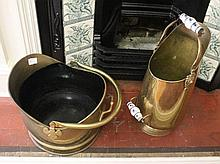 Two Brass Coal And Firewood Buckets