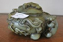 Chinese Jade Double Dragon Handled Incense Burner
