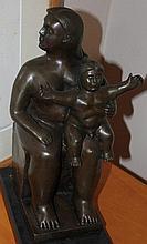 Mother and Child, bronze sculpture after Fernando