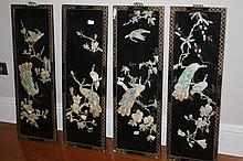 Four Chinese Mother Of pearl Decorated Screen Deco