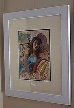 Wendy Sharpe gouache, The Model, signed 65cm x 57c