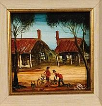 Pro Hart oil on board, Bicycle Repairs, signed 31cm x 31cm Including Frame. Picture Only is 13cm x 13cm