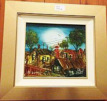 Pro Hart oil on board, To Scotty, signed 34.5cm x 37cm Including Frame 19.5cm x 22cm ( Pic Only)