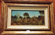 Pro Hart oil on board, Scrubby Landscape, signed 91cm x 94 includes frame