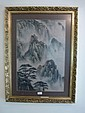 Chinese Water Colour Mountain Scene Signed Top
