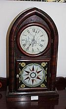 Antique Mahogany Jerome & Co Mantle Clock