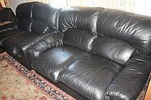 Three Piece Black Leather Lounge Suite