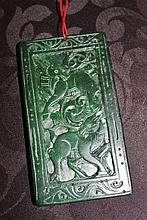 Large Chinese Jade Plaque Decorated With