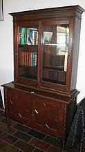 Oak Barley Twist Antique Bookcase With Sliding