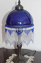 Blue Beaded Bronze Style Lamp