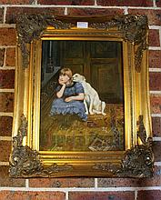 Framed oil on board, Young Girl with Dog, bears