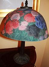 Large Bronze Style Floral Shaded lamp
