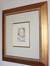 Salvador Dali etching, Self Portrait