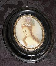 Antique French Painting On Ivory Of A Lady