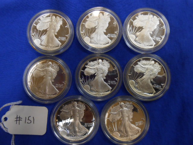 X8 One Dollar Silver American Eagle Coins- All 1986