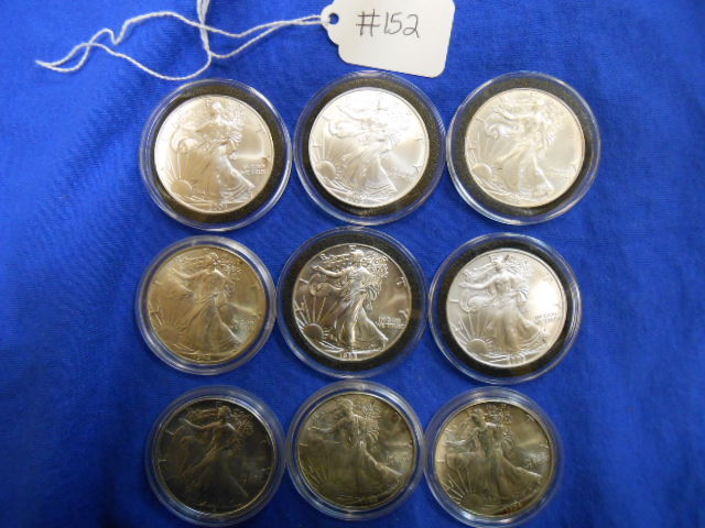 X9 One Ounce Silver Eagle Coins, 1994, 2004, 1996, 1988, 1994, 2005, 1994, 2005, 1994