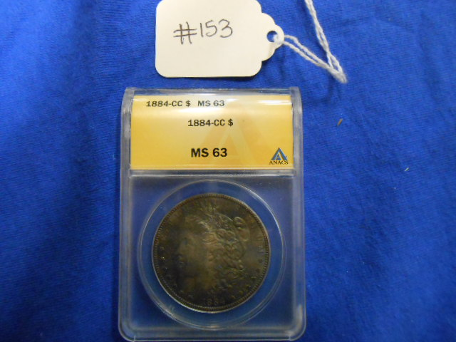 1884-CC Morgan One Dollar Anacs MS 63