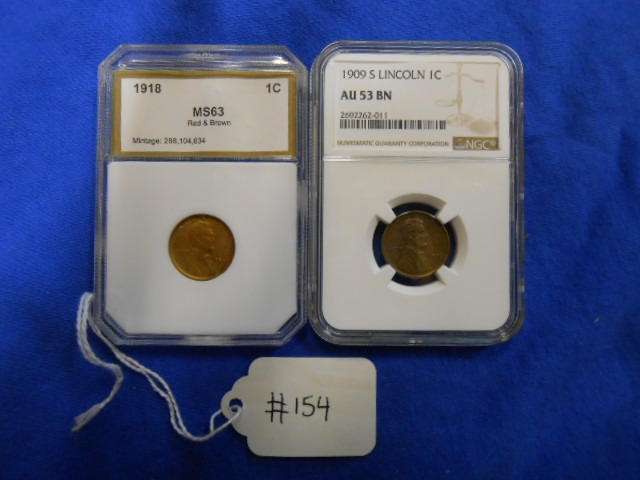 X2 1909-S Lincoln 1C NGC AU 53 BN, 1918 1C MS 63 Red & Brown