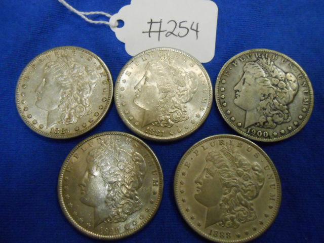 X5 Morgan Silver Dollar Coins 1900-O, 1888, 1881-S, 1890, 1881-S