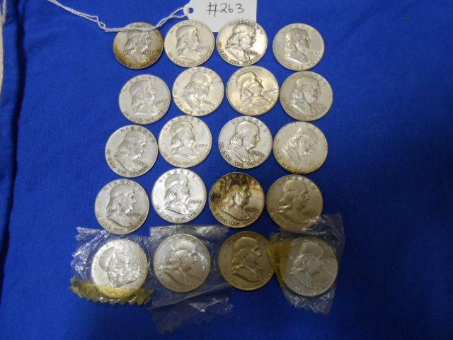 X20 Franklin Half Dollar Coins