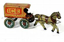 CHEIN TIN HORSE DRAWN ICE WAGON