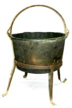 Large Copper Cauldron on Stand