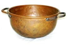 Large Early Dovetailed Copper Cauldron