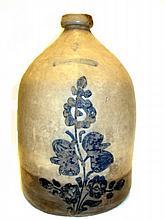 Whites Utica NY. Blue Decorated Stoneware Jug