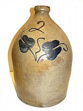 Blue Brushed Flower Decorated Stoneware Jug
