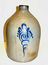 West Troy Pottery NY Blue Decorated Jug