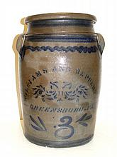 Williams And Reppert Blue Stenciled Crock