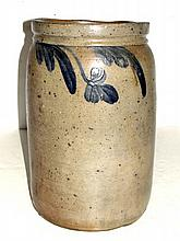 Blue Decorated Storage Crock Out Of Round