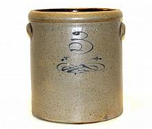 Blue Decorated 3 Gallon Stoneware Crock
