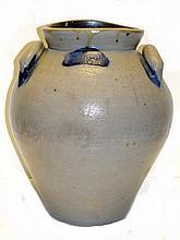 Ovoid Form Blue Decorated Storage Jar Crock