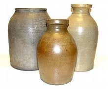 Three Stoneware Storage Jar Crocks