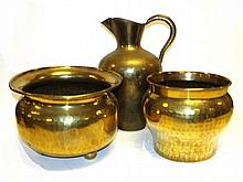Early Russian Brass Pitcher And Pots