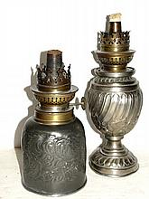 Two late 19th C.  Kerosene Tin And Brass Lamps