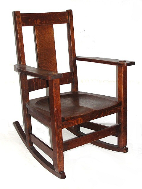 Signed Limbert Arts & Crafts Oak Sewing Rocker