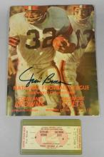 1964 NFL Championship Program and Ticket w/Jim Brown Autograph