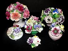 Various Porcelain Dresser Flower Pieces