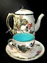 Majolica Black Berry Teapot Cup & Saucer