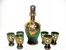 Bohemian Green Gilded Glass Decanter Set