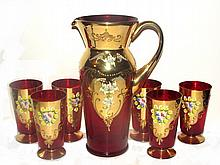 Bohemian Ruby Glass Gilded Water Set